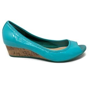 Cole Haan Tali Turquoise Patent Peep Toe Wedges